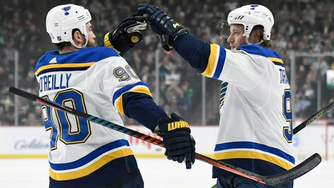 <p>               St. Louis Blues' Ryan O'Reilly (90) congratulates teammate Vladimir Tarasenko (91), of Russia on scoring a goal against the Minnesota Wild during the first period of an NHL hockey game Sunday, Feb. 17, 2019, in St. Paul, Minn. (AP Photo/Hannah Foslien)             </p>