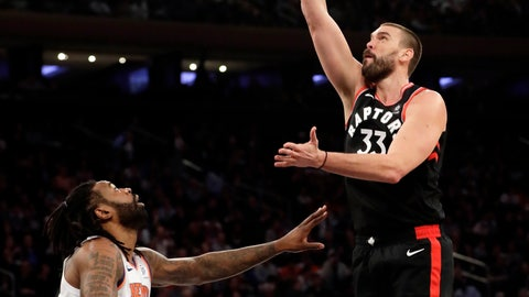 <p>               Toronto Raptors' Marc Gasol, right, shoots over New York Knicks' DeAndre Jordan during the first half of an NBA basketball game, Saturday, Feb. 9, 2019, in New York. (AP Photo/Frank Franklin II)             </p>