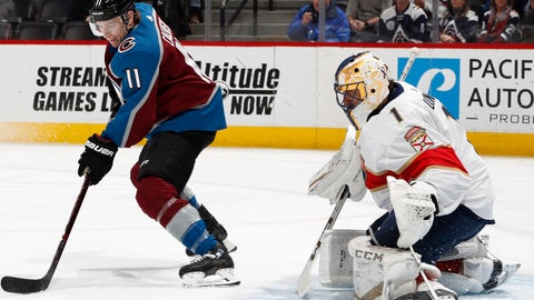 <p>               Colorado Avalanche left wing Matt Calvert, left, directs a shot at Florida Panthers goaltender Roberto Luongo in the first period of an NHL hockey game Monday, Feb. 25, 2019, in Denver. (AP Photo/David Zalubowski)             </p>