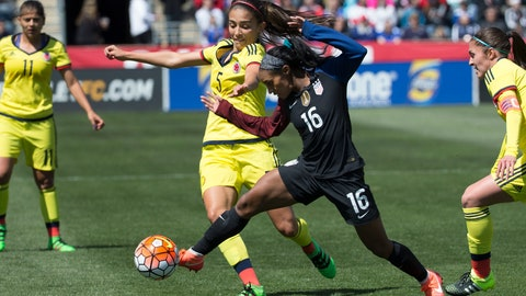 <p>               FILE- In this April 10, 2016, file photo, Colombia's Isabella Echeverri (5) battles for the ball against United States' Crystal Dunn (16) during the first half of an international friendly soccer match in Chester, Pa. Colombian women's national team players Isabella Echeverri and Melissa Ortiz are speaking out on social media about what they say are substandard conditions and discriminatory treatment by the federation. (AP Photo/Chris Szagola, File)             </p>