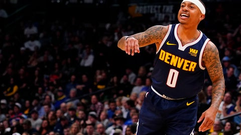 <p>               Denver Nuggets guard Isaiah Thomas motions ta a teammate during the first half of an NBA basketball game against the Sacramento Kings Thursday, Feb. 13, 2019, in Denver. (AP Photo/Jack Dempsey)             </p>