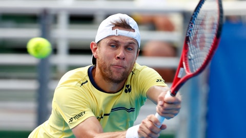 <p>               Radu Albot, of Moldova, returns a shot from Daniel Evans, of Britain, during the final tennis match at the Delray Beach Open, Sunday, Feb. 24, 2019 in Delray Beach, Fla. (AP Photo/Wilfredo Lee)             </p>