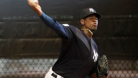 <p>               New York Yankees starting pitcher Luis Severino throws in the bullpen at the team's spring training baseball facility, Thursday, Feb. 14, 2019, in Tampa, Fla. (AP Photo/Lynne Sladky)             </p>