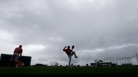 <p>               Boston Red Sox relief pitcher Brandon Workman, center, warms up in the rain as pitchers and catchers report for their first workout at their spring training baseball facility in Ft. Myers, Fla., Wednesday, Feb. 13, 2019. (AP Photo/Gerald Herbert)             </p>