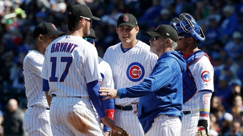 "<p>               FILE - In this Feb. 24, 2018, file photo, Chicago Cubs manager Joe Maddon visits the mound during the second inning of a spring training baseball game against the Texas Rangers, in Mesa, Ariz. In the aftermath of Chicago's collapse last season, Cubs manager Joe Maddon went looking for a deeper understanding of the players who dominate the major leagues these days. Maddon's search took him to ""Managing Millennials for Dummies,"" and the book reinforced what he already felt about the people he worked with every day.(AP Photo/Carlos Osorio, File)             </p>"