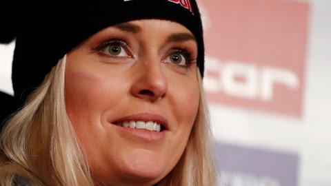 <p>               United States' Lindsey Vonn meets journalists during a news conference at the alpine ski World Championships, in Are, Sweden, Tuesday, Feb. 5, 2019. (AP Photo/Gabriele Facciotti)             </p>