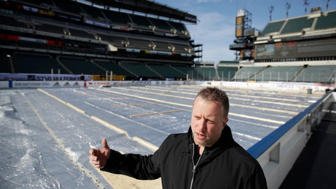 <p>               NHL senior manager of facilities operations and hockey operations Derek King speaks during an interview with The Associated Press ahead of the NHL Winter Classic hockey game between the Pittsburgh Penguins and Philadelphia Flyers, in Philadelphia, Thursday, Feb. 21, 2019. (AP Photo/Matt Rourke)             </p>