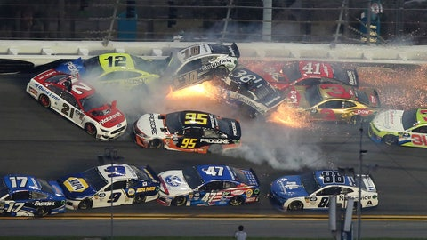 <p>               Multiple cars crash during a NASCAR Daytona 500 auto race Sunday, Feb. 17, 2019, at Daytona International Speedway in Daytona Beach, Fla. (AP Photo/Jim Topper)             </p>
