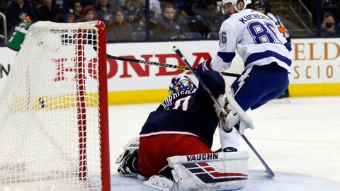 <p>               Tampa Bay Lightning forward Nikita Kucherov, right, of Russia, scores past Columbus Blue Jackets goalie Joonas Korpisalo, of Finland, during the first period of an NHL hockey game in Columbus, Ohio, Monday, Feb. 18, 2019. (AP Photo/Paul Vernon)             </p>