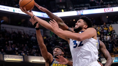 <p>               Minnesota Timberwolves center Karl-Anthony Towns (32) shoots in front of Indiana Pacers forward Thaddeus Young (21) during the first half of an NBA basketball game in Indianapolis, Thursday, Feb. 28, 2019. (AP Photo/AJ Mast)             </p>