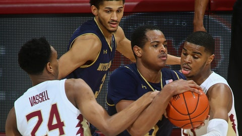 <p>               Florida State guards Devin Vassell (24) and MJ Walker, right, tie up Notre Dame guard D.J. Harvey (5) in the first half of an NCAA college basketball game in Tallahassee, Fla., Monday, Feb. 25, 2019. (AP Photo/Phil Sears)             </p>