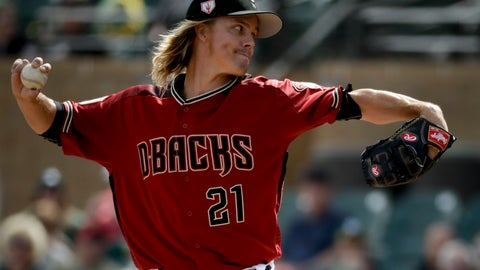 <p>               Arizona Diamondbacks starting pitcher Zack Greinke throws against the Oakland Athletics during the first inning of a spring baseball game in Scottsdale, Ariz., Monday, Feb. 25, 2019. (AP Photo/Chris Carlson)             </p>