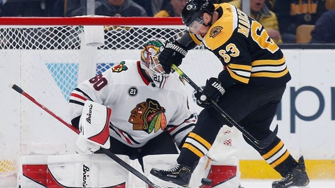 <p>               Boston Bruins' Brad Marchand (63) tries to get a shot on Chicago Blackhawks' Collin Delia (60) during the first period of an NHL hockey game in Boston, Tuesday, Feb. 12, 2019. (AP Photo/Michael Dwyer)             </p>