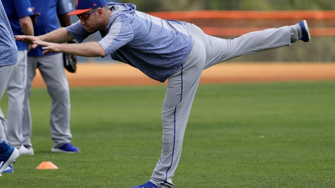 <p>               New York Mets infielder Todd Frazier stretches during spring training baseball practice Monday, Feb. 18, 2019, in Port St. Lucie, Fla. (AP Photo/Jeff Roberson)             </p>