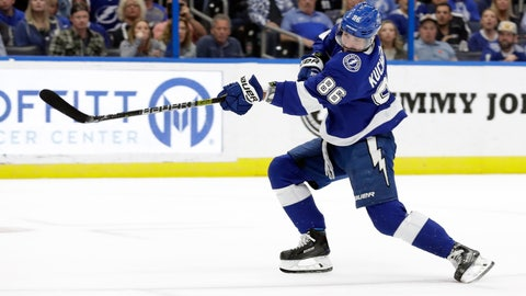 <p>               Tampa Bay Lightning right wing Nikita Kucherov (86), of Russia, shoots past Buffalo Sabres goaltender Carter Hutton for a goal during the second period of an NHL hockey game Thursday, Feb. 21, 2019, in Tampa, Fla. (AP Photo/Chris O'Meara)             </p>