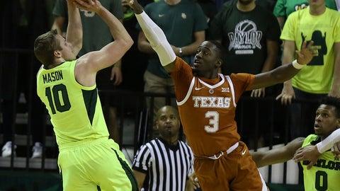 <p>               Baylor guard Makai Mason (10) shoots as Texas guard Courtney Ramey defends during the first half of a NCAA college basketball game Wednesday, Feb. 27, 2019, in Waco, Texas. (Jerry Larson/Waco Tribune Herald via AP)             </p>