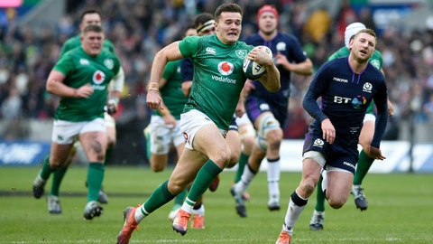 <p>               Ireland's Jacob Stockade runs for the line to score his side's second try of the game against Scotland, during the Six Nations Championship rugby match at Murrayfield Stadium in Edinburgh, Scotland, Saturday Feb. 9, 2019. (Ian Rutherford/PA via AP)             </p>