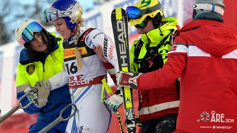 <p>               FILE - In this Tuesday, Feb. 5, 2019 file photo United States' Lindsey Vonn is assisted after crashing during the women's super G at the alpine ski World Championships, in Are, Sweden. (Pontus Lundahl/TT via AP, File)             </p>