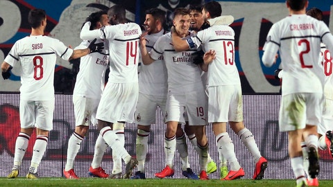 <p>               AC Milan's Krzysztof Piatek, center, celebrates after scoring his side's third goal during the Serie A soccer match between Atlanta and AC Milan at the Azzurri d'Italia Stadium in Bergamo, Italy, Saturday, Feb. 16, 2019. (Paolo Magni/ANSA via AP)             </p>