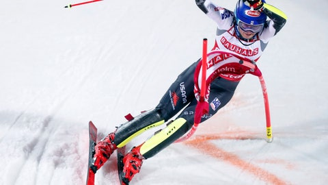 <p>               United States' Mikaela Shiffrin competes during an alpine ski World Cup women's parallel slalom city event, in Hammarbybacken, Stockholm, Sweden, Tuesday, Feb. 19, 2019. (Pontus Lundahl/TT via AP)             </p>