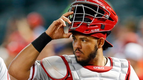 <p>               FILE - In this Monday, Aug. 6, 2018 file photo, Philadelphia Phillies catcher Jorge Alfaro (38) watches in the first inning during a baseball game against the Arizona Diamondbacks in Phoenix. During the offseason the Miami Marlins announced new concession offerings that included mushroom tacos, fries with mole sauce and bottomless popcorn and soda. The woebegone franchise's biggest offseason move came Thursday, when the Marlins traded All-Star catcher J.T. Realmuto to the Philadelphia Phillies for catcher Jorge Alfaro, two pitching prospects and $250,000 in international signing bonus pool allocation. (AP Photo/Rick Scuteri, File)             </p>