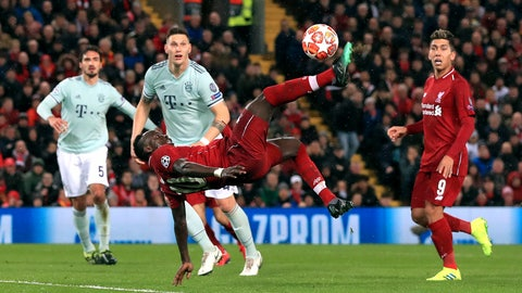 <p>               Liverpool's Sadio Mane attempts an overhead kick, during the Champions League round of 16 first leg soccer match between Liverpool and Bayern Munich,  at Anfield, in Liverpool, England, Tuesday, Feb. 19, 2019. (Peter Byrne/PA via AP)             </p>