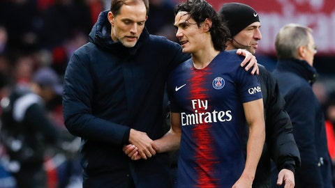 <p>               PSG coach Thomas Tuchel and PSG's Edinson Cavani speak during the French League One soccer match between Paris Saint-Germain and Bordeaux at the Parc des Princes stadium in Paris, Saturday, Feb. 9, 2019. (AP Photo/Christophe Ena)             </p>