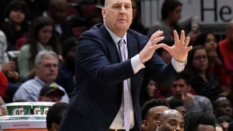 <p>               Chicago Bulls coach Jim Boylen gestures to his team during the second half of an NBA basketball game against the New Orleans Pelicans on Wednesday, Feb. 6, 2019, in Chicago. The Pelicans won 125-120. (AP Photo/David Banks)             </p>