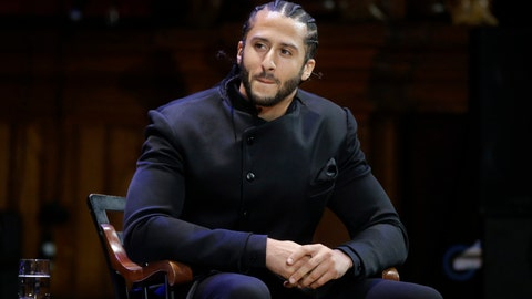 <p>               FILE - In this Oct. 11, 2018, file photo, former NFL football quarterback Colin Kaepernick attends the W.E.B. Du Bois Medal ceremonies at Harvard University in Cambridge, Mass. Kaepernick was among eight recipients of Harvard University's W.E.B. Du Bois Medals in 2018. A person with knowledge of the conversation tells The Associated Press that the new Alliance of American Football spoke with Kaepernick during its development about joining the league. But Kaepernick wanted $20 million or more to consider playing with the league that had its debut last weekend. The person spoke on condition of anonymity Thursday because neither side has publicly acknowledged such talks. (AP Photo/Steven Senne, File)             </p>