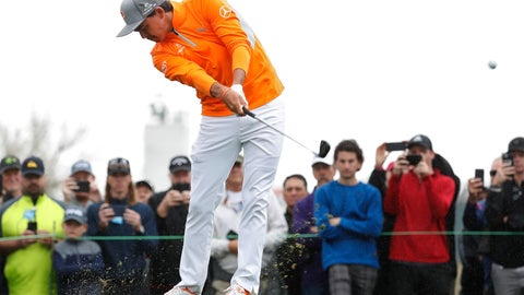 <p>               Rickie Fowler hits from the fourth tee during the final round of the Phoenix Open PGA golf tournament, Sunday, Feb. 3, 2019, in Scottsdale, Ariz. (AP Photo/Matt York)             </p>