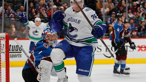 <p>               Vancouver Canucks left wing Antoine Roussel (26) celebrates a goal against Colorado Avalanche goaltender Semyon Varlamov (1) during the second period of an NHL hockey game in Denver, Saturday, Feb. 2, 2019. (AP Photo/Joe Mahoney)             </p>