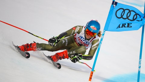 <p>               United States' Mikaela Shiffrin competes during the women's giant slalom, at the alpine ski World Championships in Are, Sweden, Thursday, Feb. 14, 2019. (AP Photo/Marco Trovati)             </p>