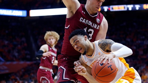 <p>               Tennessee guard Lamonte Turner (1) drives against South Carolina forward Felipe Haase (13) during the second half of an NCAA college basketball game Wednesday, Feb. 13, 2019, in Knoxville, Tenn. Tennessee won 85-73. (AP photo/Wade Payne)             </p>