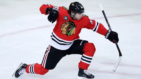<p>               Chicago Blackhawks right wing Patrick Kane celebrates after scoring a goal against the Detroit Red Wings during the third period of an NHL hockey game Sunday, Feb. 10, 2019, in Chicago. (AP Photo/Nam Y. Huh)             </p>