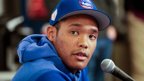 <p>               Chicago Cubs shortstop Addison Russell speaks at a press conference after a spring training baseball workout Friday, Feb. 15, 2019, in Mesa, Ariz. (AP Photo/Morry Gash)             </p>
