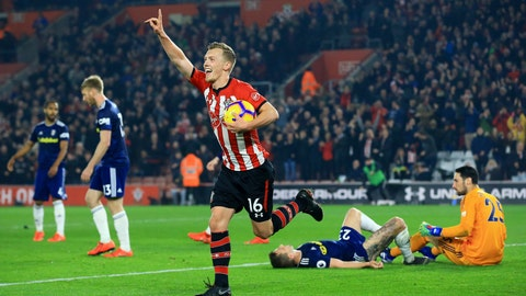 <p>               Southampton's James Ward-Prowse celebrates scoring his side's second goal of the game against Fulham, during their English Premier League soccer match at St Mary's Stadium in Southampton, England, Wednesday Feb. 27, 2019. (Mark Kerton/PA via AP)             </p>