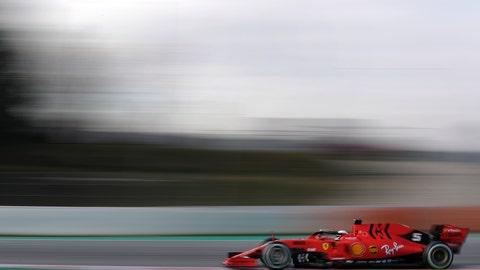 <p>               Ferrari driver Sebastian Vettel of Germany steers his car during a Formula One pre-season testing session at the Barcelona Catalunya racetrack in Montmelo, outside Barcelona, Spain, Monday, Feb.18, 2019. (AP Photo/Manu Fernandez)             </p>