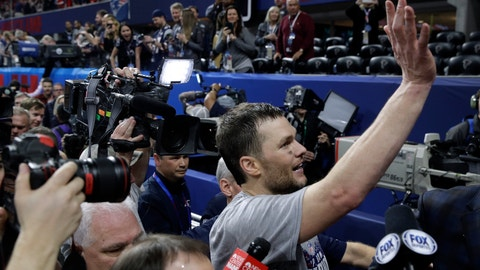 <p>               New England Patriots' Tom Brady waves as he leaves the field after the NFL Super Bowl 53 football game against the Los Angeles Rams, Sunday, Feb. 3, 2019, in Atlanta. The Patriots won 13-3. (AP Photo/Patrick Semansky)             </p>