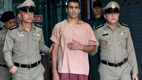 <p>               FILE - In this Monday, Feb. 4, 2019, file photo, refugee soccer player Bahraini Hakeem al-Araibi leaves the criminal court in Bangkok, Thailand. A Thai court on Monday, Feb. 11, 2019, has ordered the release of al-Araibi after prosecutors said they were no longer seeking his extradition to Bahrain. (AP Photo/Sakchai Lalit, File)             </p>