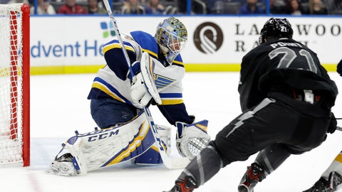 <p>               St. Louis Blues goaltender Jordan Binnington (50) makes a save on a shot by Tampa Bay Lightning center Brayden Point (21) during the second period of an NHL hockey game Thursday, Feb. 7, 2019, in Tampa, Fla. (AP Photo/Chris O'Meara)             </p>