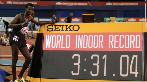 <p>               Ethiopia's Samuel Tefera poses next to teh time indicator, as he celebrates getting the mens 1500 metre World Indoor Record during the Muller Indoor Grand Prix in Birmingham, England, Saturday Feb. 16, 2019.  (David Davies/PA via AP)             </p>