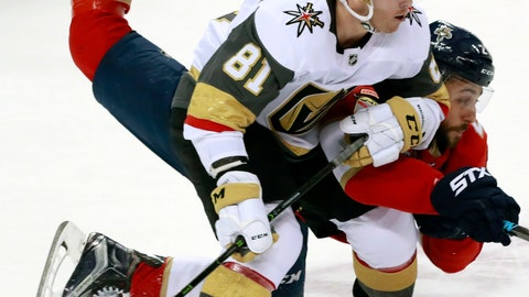 <p>               Vegas Golden Knights center Jonathan Marchessault (81) and Florida Panthers center Vincent Trocheck battle for the puck during the second period of an NHL hockey game, Saturday, Feb. 2, 2019, in Sunrise, Fla. (AP Photo/Wilfredo Lee)             </p>