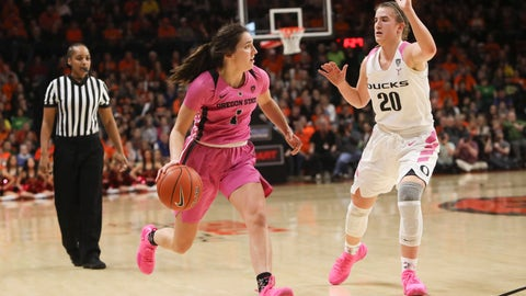 <p>               Oregon State's Aleah Goodman (1) looks for a way past Oregon's Sabrina Ionescu (20) during the first half of an NCAA college basketball game in Corvallis, Ore., Monday, Feb. 18, 2019. (AP Photo/Amanda Loman)             </p>