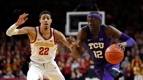 <p>               TCU forward Kouat Noi, right, drives past Iowa State guard Tyrese Haliburton, left, to the basket during the first half of an NCAA college basketball game, Saturday, Feb. 9, 2019, in Ames. (AP Photo/Matthew Putney)             </p>