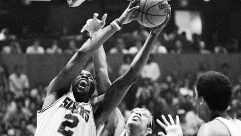 <p>               FILE - In this May 27, 1983, file photo, Philadelphia 76ers Moses Malone (2) battles Los Angeles Lakers Kareem Abdul-Jabbar under the boards as he drives to the basket during fourth quarter of an NBA championship basketball game in Philadelphia. The 76ers are paying tribute to the late Malone, a three-time NBA MVP and one of basketball's most ferocious rebounders, with a sculpture and a jersey retirement ceremony on Friday, Feb. 8, 2019. (AP Photo/Ray Stubblebine, File)             </p>