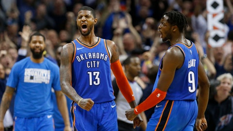 <p>               Oklahoma City Thunder forwards Paul George (13) and Jerami Grant (9) celebrate after George hit a shot with less than a second left in the second overtime of an NBA basketball game against the Utah Jazz in Oklahoma City, Friday, Feb. 22, 2019. The Thunder won 148-147. (AP Photo/Sue Ogrocki)             </p>