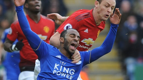 <p>               Leicester's Ricardo Pereira, left, falls as he challenge for the ball with Manchester United's Nemanja Matic during the English Premier League soccer match between Leicester City and Manchester United at the King Power Stadium in Leicester, England, Sunday, Feb 3, 2019. (AP Photo/Rui Vieira)             </p>