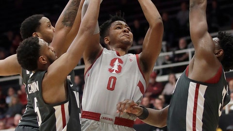 <p>               Stanford forward KZ Okpala (0) shoots between Washington State defenders during the first half of an NCAA college basketball game in Stanford, Calif., Thursday, Feb. 28, 2019. (AP Photo/Jeff Chiu)             </p>
