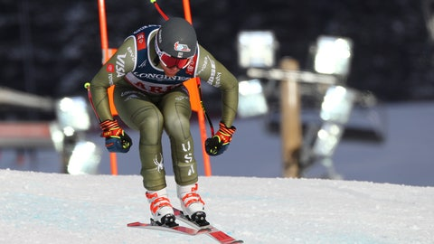 <p>               United States' Ryan Cochran Siegle speeds down the course during the downhill portion of the men's combined, at the alpine ski World Championships in Are, Sweden, Monday, Feb.11, 2019. (AP Photo/Marco Trovati)             </p>