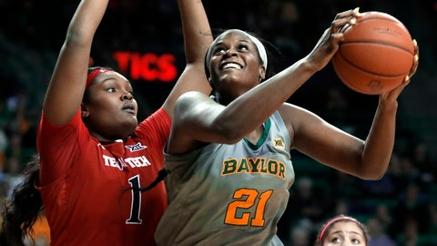 <p>               Texas Tech center Erin DeGrate (1) defends as Baylor center Kalani Brown (21) positions for a shot in the second half of an NCAA college basketball game in Waco, Texas, Saturday, Feb. 2, 2019. (AP Photo/Tony Gutierrez)             </p>
